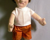 Cuddly 15 inch cloth rag doll sewing pattern boy Zach