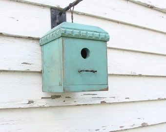 Shabby Cottage Birdhouse, Functional Bird House,  Garden Art, Rustic Birdhouses, Garden Bird Houses