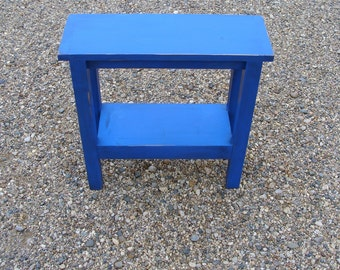 End Table, Side Table, Narrow Table, Wood Table, Table with Shelf, Shabby Distressed Cobalt Indigo Blue Custom