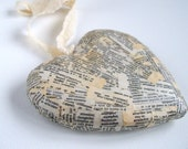 Decoupaged wood heart ornament Vintage French words dictionary text black white cream