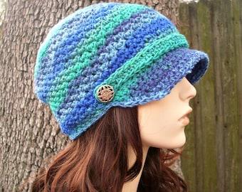 Crochet Hat Womens Hat Newsboy Hat - Chesapeake Beanie With Visor in Spectrum Blue Green Crochet Hat - Womens Accessories