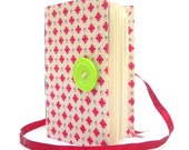 Dotted journal Handmade journals Lined journal notebook writing journal diary made with red flowers Green button opens with red ribbon girly