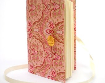 Pink Journal notebook, lined journal diary, writing journal, Opens with Gold button and White ribbon, Handmade journals, pregnancy journal
