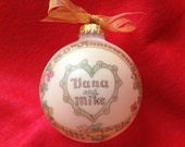Autumn-styled Anniversary Keepsake Ornament Original Handpainted Personalized Ornament, WITH DISPLAY STAND