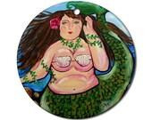Big Chubby Mermaid Folk Art Fun Whimsical Colorful Round Porcelain Ornament
