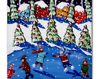 Holiday Ice Skaters Kids Fun Whimsical Colorful Folk Art Ceramic Tile