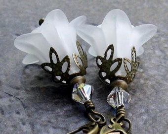 White Lucite Flower Earrings, Antique Brass Leverbacks, Swarovski Crystals and Glass... Romantic Floral Jewelry, Wedding Bells