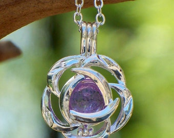 Recycled  Antique Amethyst Glass Bottle Silver Blossom Necklace