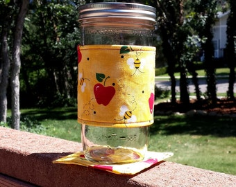NEW - Mason Jar cozy and coaster set - Back-to-School Bees