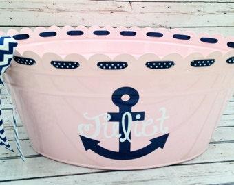 Scalloped Ribbon Metal Oval Tub with Anchor Design - custom designed tub - party decor - gift basket tub - nursery organizer - baby gift