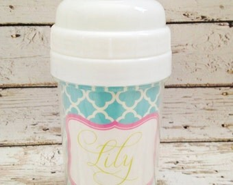 personalized PREPPY girl spill proof sippy cup in light blue and pink
