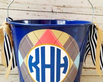 personalized preppy monogram bucket