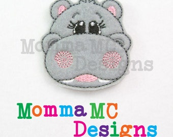 Hippo Felt Feltie Embroidery Design