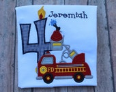 Custom Personalized Firetruck Birthday T Shirt Long or Short Sleeve T Shirt Photo Prop Gift