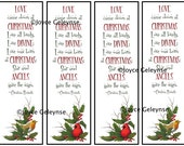 Printable Bookmarks, Christmas Art, Rossetti Quote, Cardinal, English Robin INSTANT Download