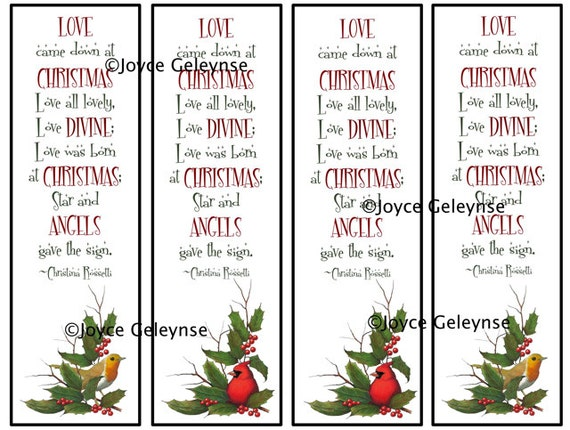 Printable Bookmarks Christmas Art Rossetti by ...