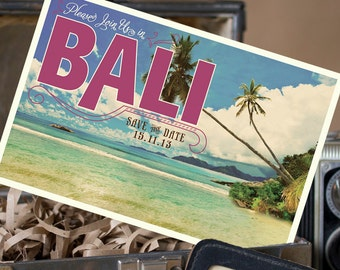 Vintage Postcard Save the Date (Bali) - Design Fee