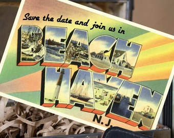 Vintage Large Letter Postcard Save the Date (Beach Haven) - Design Fee