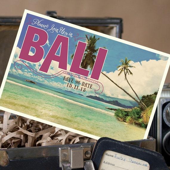 Vintage Postcard Save The Date Bali Design Fee