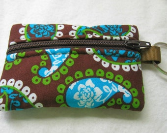 Coin Purse Paisley - Change Purse - Small Zippered Pouch - Brown Lime Paisley - Brown Earbud Holder
