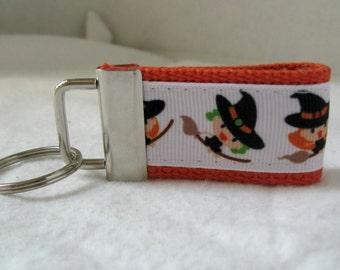 HALF OFF Witch Mini Key Fob Halloween Orange Key Chain
