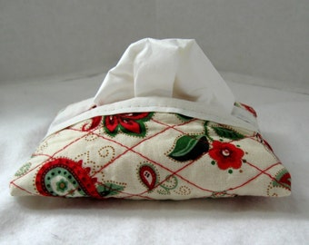 Quilted Tissue Holder Pocket Size Floral Red Black Sage