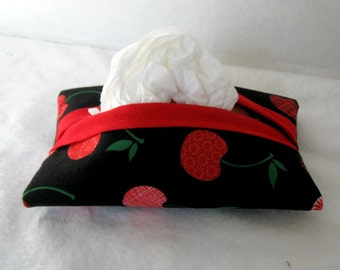 Cherries Tissue Holder  - Pocket Tissue Cozy - Travel Size Tissue Case - Cherry Purse Tissue Holder -Black Red