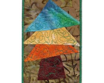 Fiber Art quilted Postcard Batik Tree Mini fabric quilt OOAK