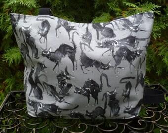 Black cat purse, knitting project bag, Sebastian Ghastlie, long or short handles you pick, The Tallullah