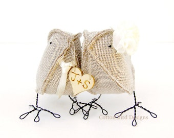 Burlap Birds  Personalized Wedding Cake Topper Burlap Birds -Choose Tie Choose 2 initials Choose Flowermade to order check processing times