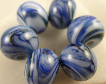 Party Girls - Denim  - Lampwork Beads (6) - Libelua Designs, SRA