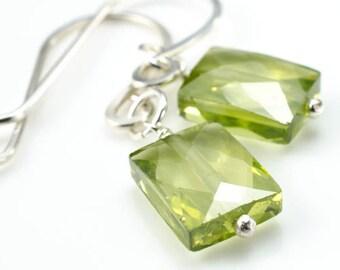 Olivine Green CZ Faceted Rectangle Earrings