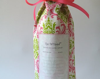 Re-Wined Traveling Wine Wrap, Wine Bag, Fabric Tote - Style J