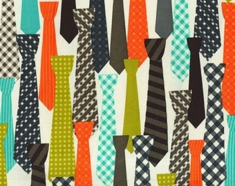 Michael Miller, Mod Guys, Ties Starfruit Fabric - REMNANT Size 29 Inches by 44 Inches