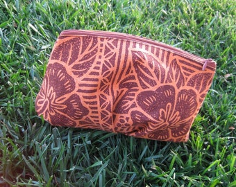 Clutch or Cosmetic Bag in Orange Cotton with Brown Polynesian Leaves and Hibiscus