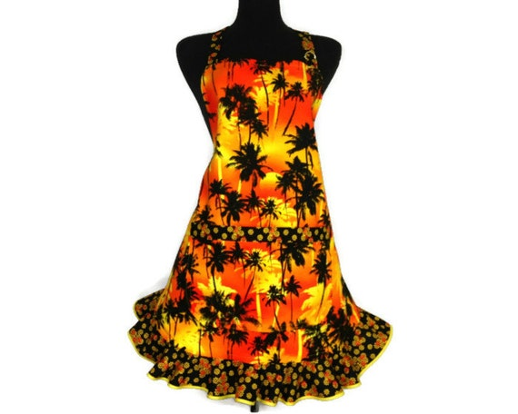 Retro Womens Apron ,  Palm Trees on an Orange and Yellow Sunset ,  Tropical Kitchen Decor