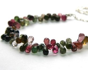 """Tourmaline  """"Jen"""" Necklace with 14k Goldfilled or Sterling Silver Chain"""