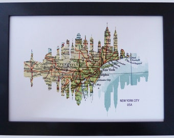 New York Skyline Print with vintage city map