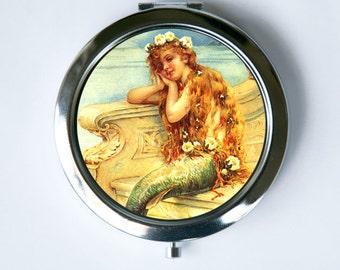 Mermaid Compact Mirror Pocket Mirror flowers art nouveau deco victorian