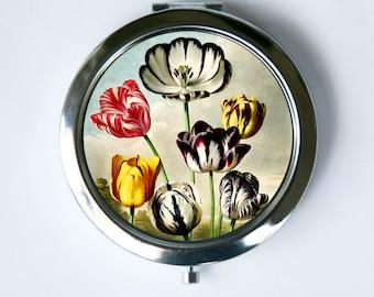 Compact Mirror Pocket Mirror Tulips Flowers