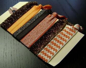 Orange and Brown Chevron and Glitter Hair Ties ... 6 ct.