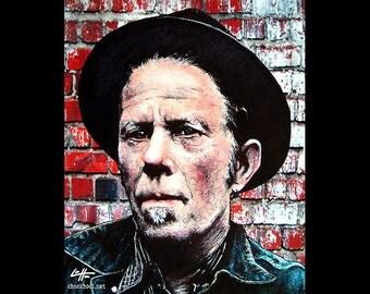"Print 8x10"" - Tom Waits - Portrait Blues Rock Jazz Experimental Piano Smoking Drinking Pop Art Beatnik Vintage Poetry Drunk Bukowski Lowbrow"