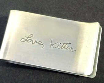 Father's Day Grad Gift Personalized Own Handwriting Money Clip by donnaodesigns