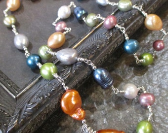 Pastel Multi Color Freshwater Pearl Sterling Silver Necklace LTD ED