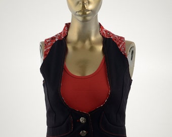 2-Tone vest, olive and tan or black and red print, on sale