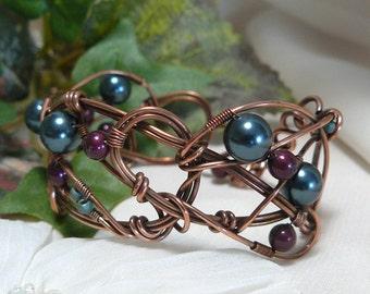 Blackberry Swarovski Pearl Braclet ~ Petrol Swarovski Pearl Bracelet ~ Wire Wrapped Cuff Bracelet ~ Copper Bracelet ~ Woven Wire Bracelet