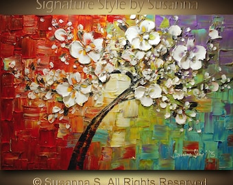 ORIGINAL Large Tree Painting Multicolor White Cherry Blossom Impasto Landscape by Susanna 36x24 Ready to Hang Made2Order