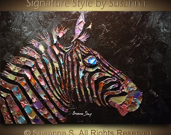 Original Zebra Painting Large abstract contemporary metallic multicolor black palette knife impasto fine art by Susanna 36x24 MADE To Order