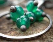 Hoop Cluster Earrings Green Onyx