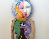 RESERVED FOR NANCY Time To Smell The Flowers recycled found object sculpture mixed media